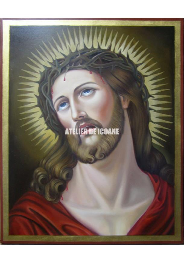 Icoana lui Iisus Hristos cu coroană de spini - Icoană manual pictată