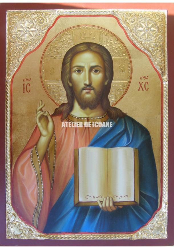 Icoana lui Iisus Hristos – Pantocrator - placare cu aur - Icoane pictate