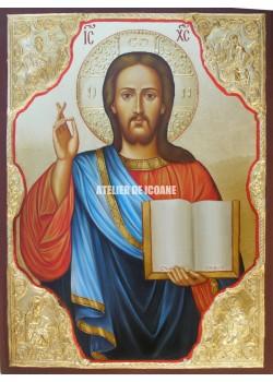 Icoana lui Iisus Hristos – Pantocrator - placare cu aur - Icoană manual pictată