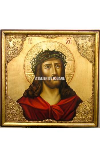 Icoana lui Iisus Hristos cu coroană de spini – cu nimb de aur - Icoane pictate