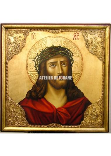 Icoana lui Iisus Hristos cu coroană de spini – cu nimb de aur - Reproducere