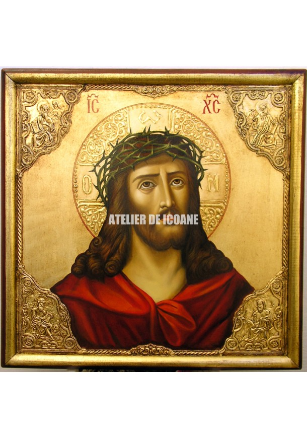 Icoana lui Iisus Hristos cu coroană de spini – cu nimb de aur - Icoană manual pictată