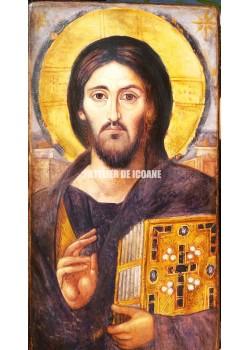 Icoana lui Iisus Hristos – Pantocrator-Аtotputernic – Sinai - cu două feţe din Sinai - Reproducere