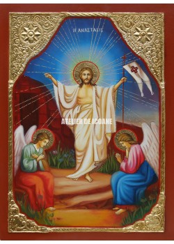 Icoana cu Înviere Domnului – Dumnezeu - placare cu aur - Reproducere