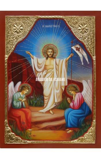 Icoana cu Înviere Domnului – Dumnezeu - placare cu aur - Icoană manual pictată