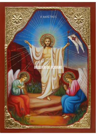 Icoana cu Înviere Domnului – Dumnezeu - placare cu aur - Icoane pictate