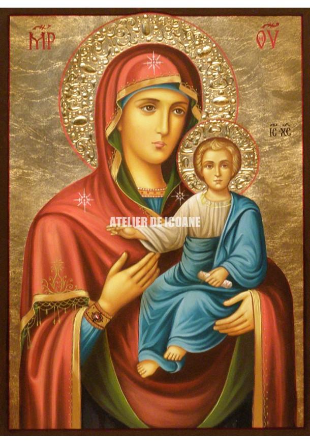 Icoana cu Sfânta Maica Domnului cu Pruncul – Îndrumătoare - Hodighitria - Icoană manual pictată