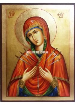 Icoana miraculoasă cu Sfânta Născatoare de Dumnezeucu şapte săgeţi - Icoană manual pictată