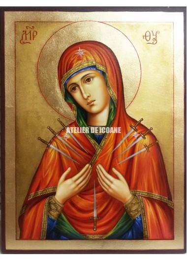 Icoana miraculoasă cu Sfânta Născatoare de Dumnezeucu şapte săgeţi - Icoane pictate