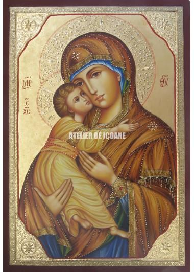 Icoana miraculoasă cu SfântaMaica Domnului Milostiva din Vladimir - Icoană manual pictată
