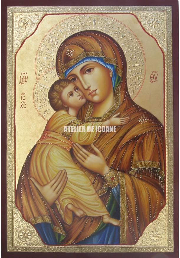 Icoana miraculoasă cu SfântaMaica Domnului Milostiva din Vladimir - Reproducere