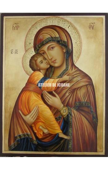 Icoana miraculoasă cu Sfânta Maica Domnului Milostiva din Vladimir - Icoană manual pictată