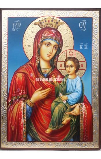 Icoana Maicii Domnului cu pruncul Hodighitria Ascultătoare rugăciunilor - Icoană manual pictată