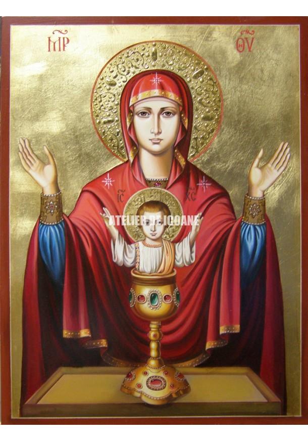 Icoana miraculoasă cu Sfânta Maica Domnului cu Potirul Nesecat - Icoană manual pictată