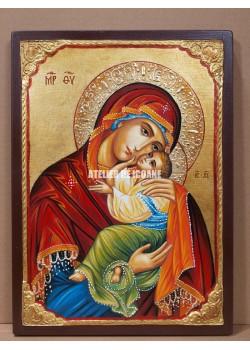 Icoana miraculoasă cu Sfânta Maica Domnului cu Pruncul Milostiva- Eleusa - Icoană manual pictată