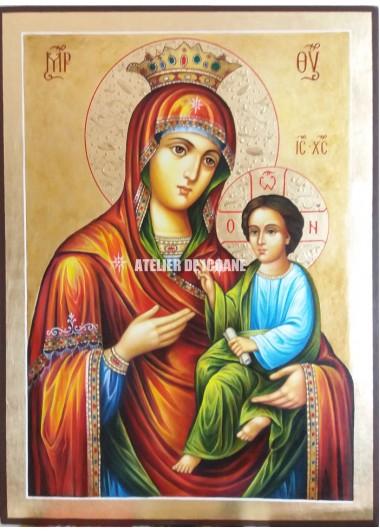 Icoana miraculoasă cu Sfânta MaicaDomnului cu pruncul Hodighitria- Ascultătoare rugăciunilor - Icoană manual pictată