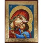 Icoana miraculoasă cu Sfânta MaicaDomnului cu pruncul Milostiva - Eleusa - Icoană manual pictată