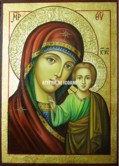 Icoana miraculoasă cu Sfânta MaicaDomnului din Kazan - Icoană manual pictată