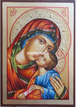 Icoana miraculoasă cu Sfânta MaicaDomnului cu pruncul Milostiva-Eleusa - Icoană manual pictată