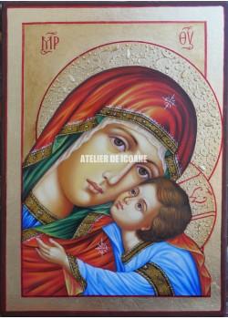 Icoana miraculoasă cu Sfânta MaicaDomnului cu Iisus Hristos Milostiva-Eleusa - Icoană manual pictată