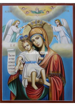Icoana miraculoasă cu Sfânta Maica Domnului – Demna Est - Mângăitoare - Icoană manual pictată
