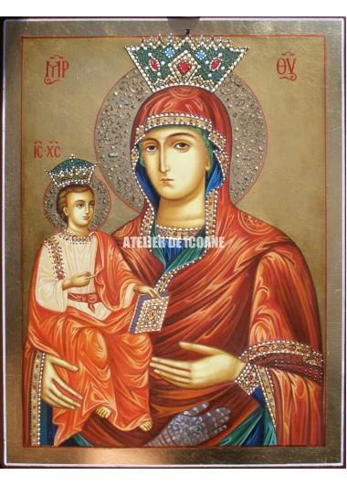 Icoana miraculoasă cu Maica Domnului cu trei maini - Icoană manual pictată