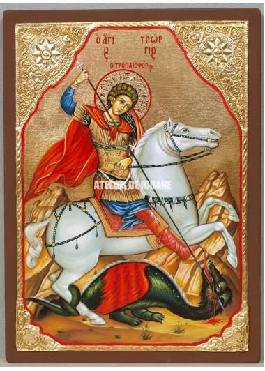Icoana cu Sfântul Gheorghe - Icoană manual pictată
