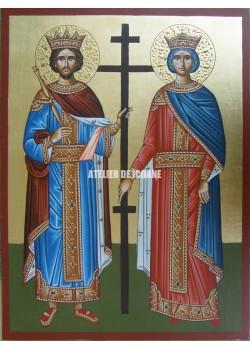 Icoana cu Sfântul Constantin și Elena - Icoană manual pictată