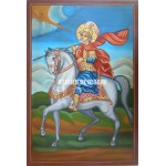 Icoana cu Sfântul Mina pe cal - Icoană manual pictată
