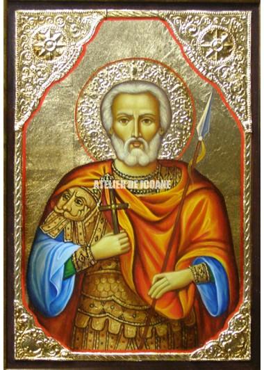 Icoana cu Sfântul Mina – cu ramă - Icoană manual pictată