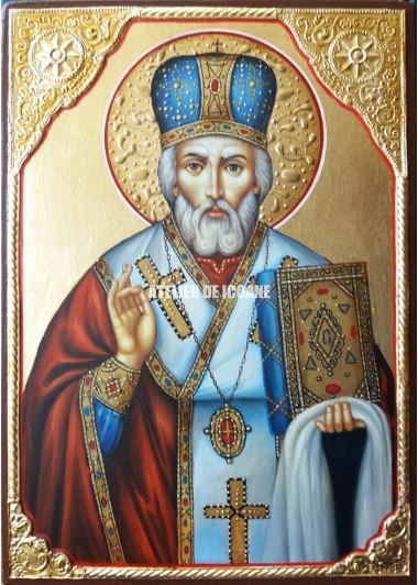 Icoana cu Sfântul Nicolae Lucrătorul de Minuni - Icoană manual pictată