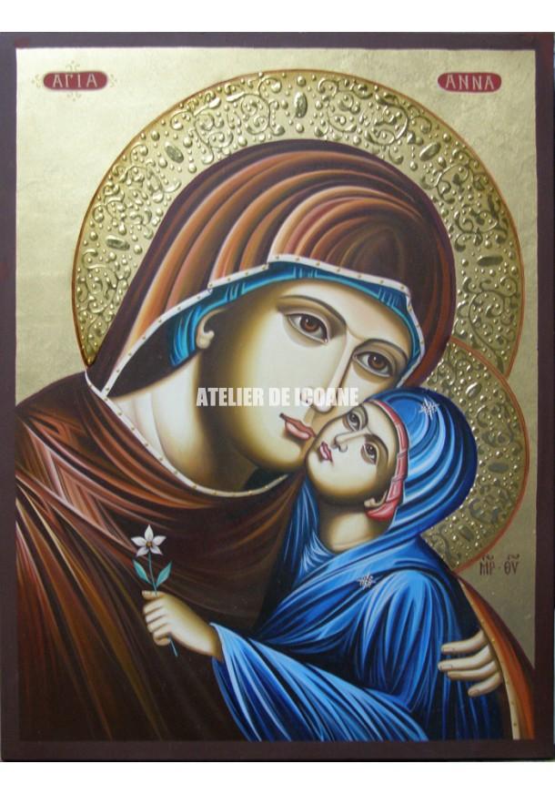Icoana cu Sfânta Anna cu Maica Domnului - Icoană manual pictată