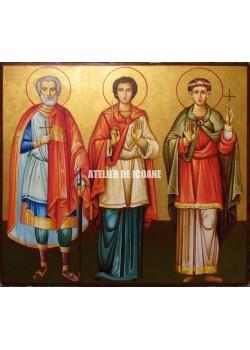 Icoana cu Sfântul Mina – Sfântul Ermoghen – Sfântul Evgraf - Icoană manual pictată