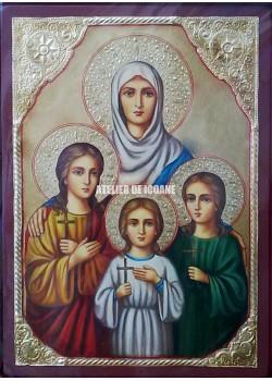 Icoana cu Sfânta Sofia – Credință - Iubire - Icoană manual pictată