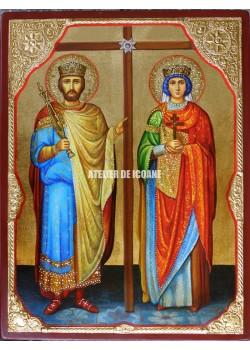Icoana cu Sfinții împărații Constantin și Elenei egali cu apostoli - Icoană manual pictată