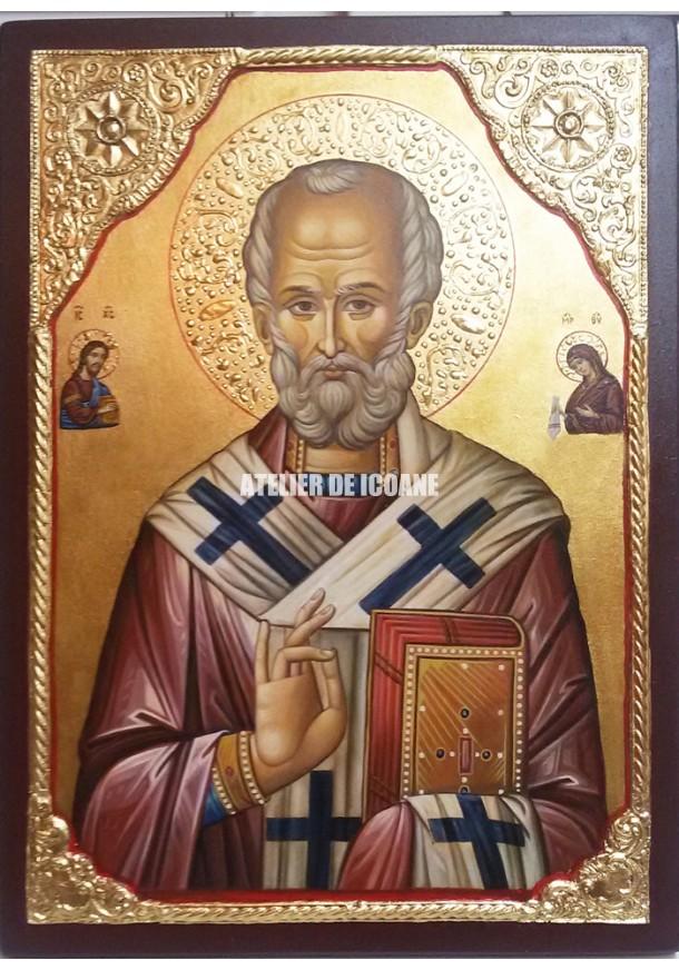Icoana cu Sfântul Nicolae – Iisus Hristos – Sfânta Maica Domnului - Icoană manual pictată